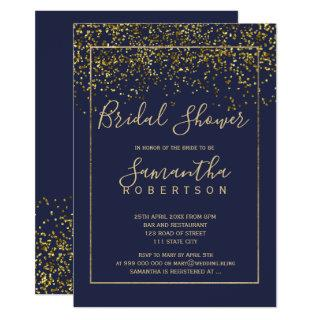 Chic gold confetti navy blue script bridal shower invitation
