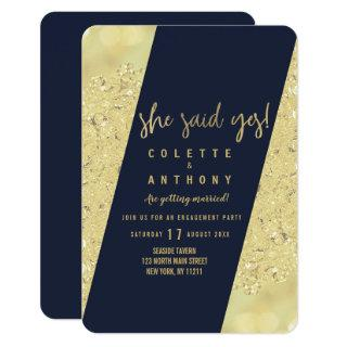 Chic gold faux glitter navy blue Engagement Invitation
