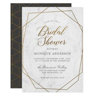 Chic Gold Geometric Art Deco Marble Bridal Shower Invitation