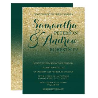 Chic gold glitter emerald green wedding invitation