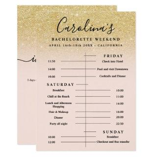 Chic gold glitter time line bachelorette weekend Invitations