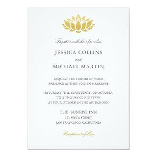 Chic Gold Lotus Flower Custom Wedding Invitation