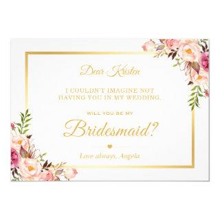 Chic Gold Pink Floral Will You Be My Bridesmaid Invitations