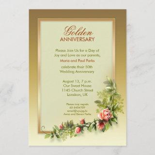 chic golden wedding anniversary - 50 invitation