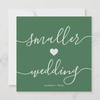 Chic Green Simple Downsizing Smaller Wedding Announcement