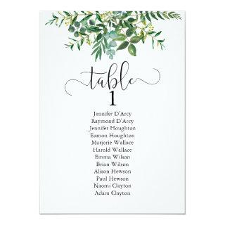 Chic greenery wedding table plan, modern font Invitations