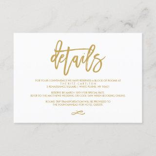 Chic Hand Lettered Gold Wedding Details Enclosure