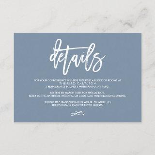 Chic Hand Lettered Wedding Details Dusty Blue Enclosure Card