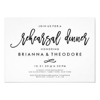 Chic Hand Lettered Wedding Rehearsal Dinner Invitation