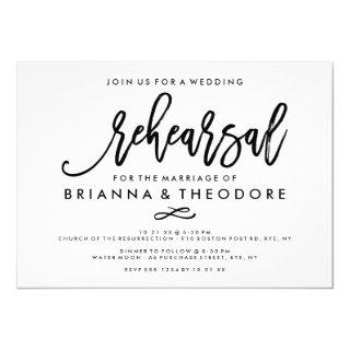 Chic Hand Lettered Wedding Rehearsal Invitation