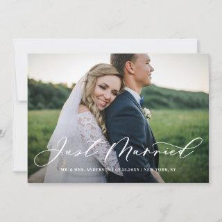 Chic Just Married Calligraphy Horizontal Photo Announcement