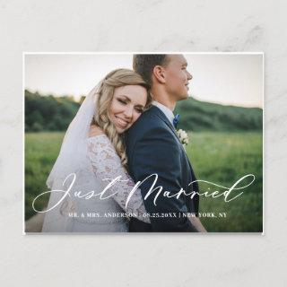Chic Just Married Calligraphy Overlay Photo Announcement Postcard