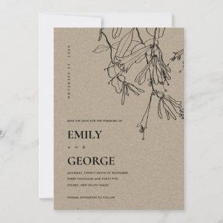 CHIC KRAFT LINE DRAWING FLORAL SAVE THE DATE CARD