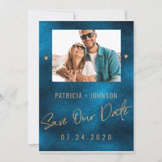 Chic luxury navy gold wedding save the date PHOTO Announcement