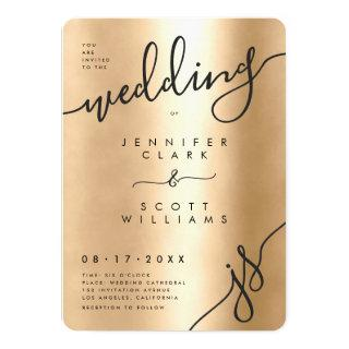 Chic Metalic gold black handwitten script wedding Invitation