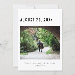 CHIC MINIMAL BOLD CUSTOM PHOTO SAVE THE DATE CARD