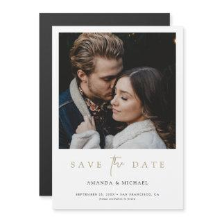 Chic Minimalist Modern Gold Photo Save the Date Magnetic