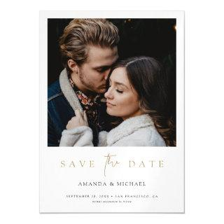 Chic Minimalist Modern Gold Photo Save the Date Magnetic Invitation