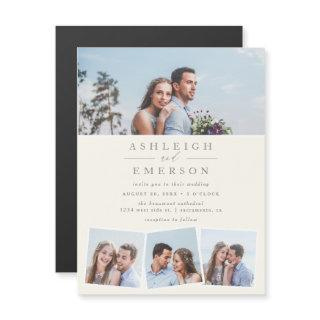 Chic Modern Minimalist Beige Photo Collage Wedding Magnetic Invitation