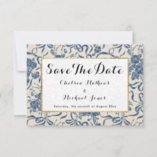 Chic Modern Vintage Ivory Navy Blue Floral Pattern Save The Date