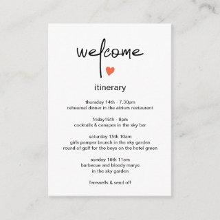 Chic Modern Wedding Weekend Itinerary And Welcome Enclosure Card
