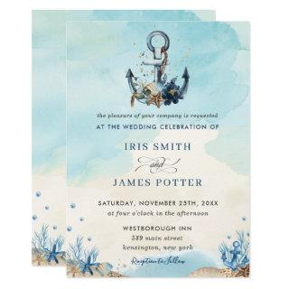 Chic Nautical Anchor Beach Modern Wedding Invitations