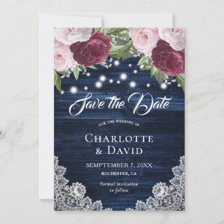 Chic Navy Blue Burgundy Blush Save The Date Cards