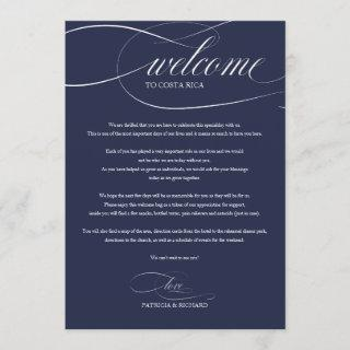 Chic Navy Blue Wedding Weekend Welcome Itinerary