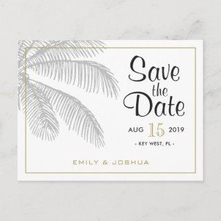 Chic Palm Tree & Gold Wedding Save the Date Custom Announcement Postcard