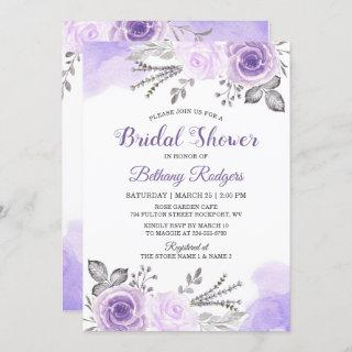 Chic Pastel Purple Rose Garden Bridal Shower Invitation