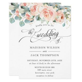 Chic Peach Floral Calligraphy Greenery Wedding Invitations