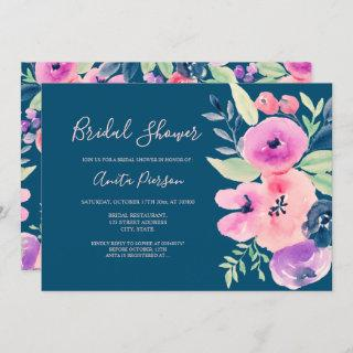 Chic pink blue watercolor floral bridal shower Invitations