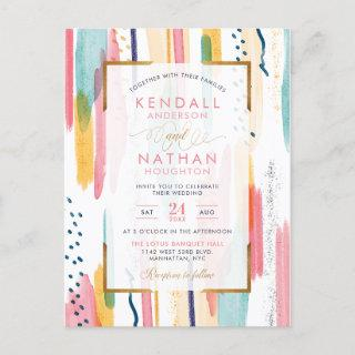 Chic Pink Painted Brush Strokes Chic Wedding Invitation Postcard
