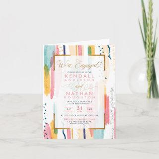 Chic Pink Painted Memphis Chic Engagement Party Invitations