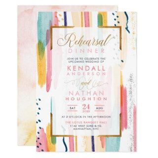 Chic Pink Watercolor Memphis Chic Rehearsal Dinner Invitation