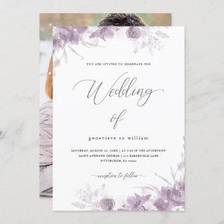 Chic Purple Floral with Calligraphy Photo Wedding Invitation