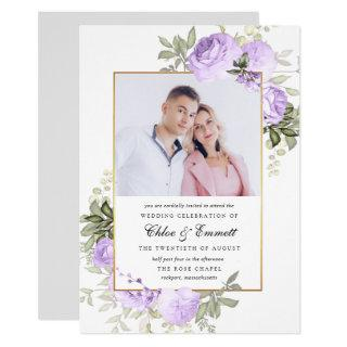 Chic Purple Rose Rustic Floral Wedding Photo Invitations