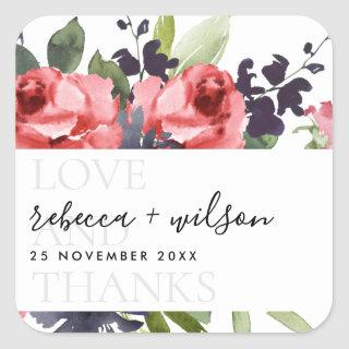 CHIC RED ROSE PEONY FLORAL LOVE AND THANKS WEDDING SQUARE STICKER