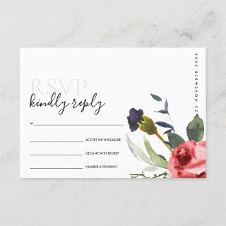 CHIC RED ROSE PEONY FLORAL WATERCOLOR WEDDING RSVP ENCLOSURE CARD