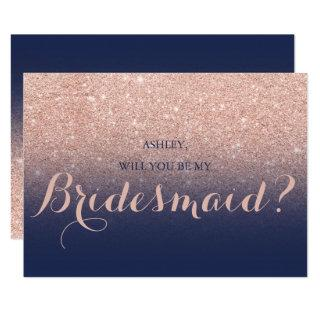 Chic rose gold glitter navy blue be my Bridesmaid Invitation