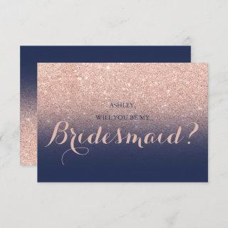 Chic rose gold glitter navy blue be my Bridesmaid Invitations