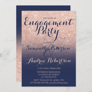 Chic rose gold glitter navy blue engagement party