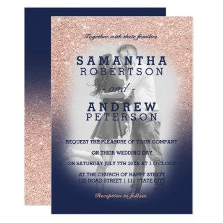 Chic rose gold glitter navy blue photo wedding invitation