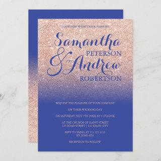 Chic rose gold glitter royal blue wedding invitation
