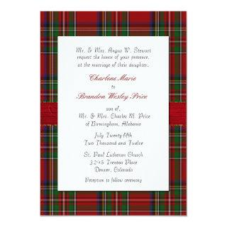 Chic Royal Stewart Plaid Wedding Invitations