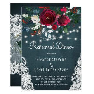 Chic rustic winter floral wedding rehearsal dinner invitation