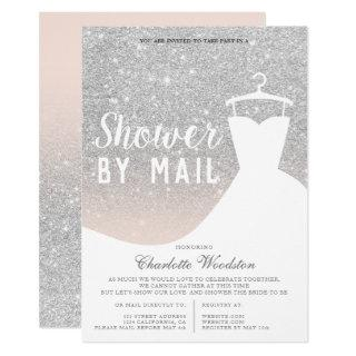 Chic silver glitter dress Bridal shower by mail Invitations