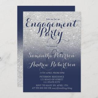 Chic silver glitter navy blue engagement party