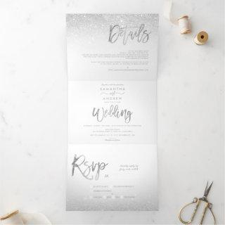 Chic silver glitter typography ombre white wedding Tri-Fold invitation