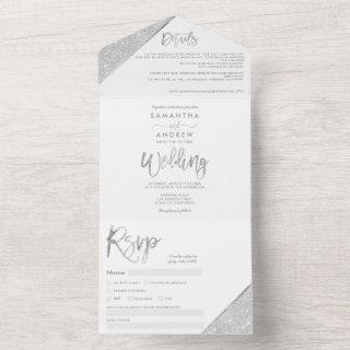 Chic silver glitter typography white wedding all in one invitation